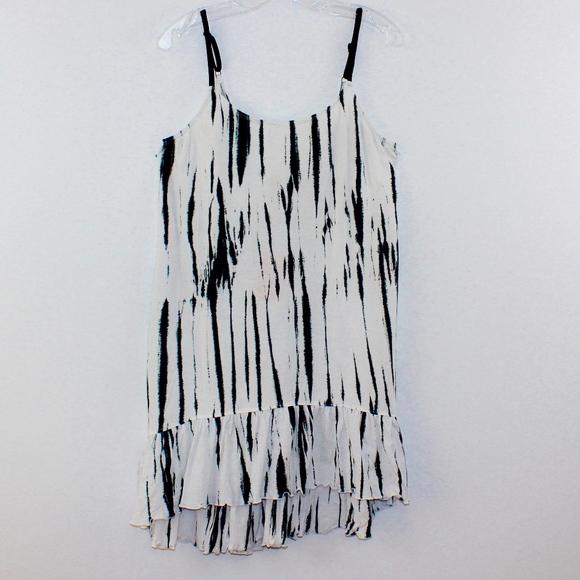 RubiMoon Tie Dyed Ruffled Slip Dress Adjustable